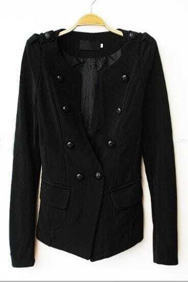 Black Long Sleeve Pads Shoulder Double Breasted Slim Blazer
