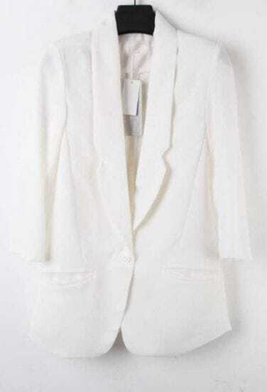 White Lapel Single Button Pockets Fitted Curved Hem Blazer