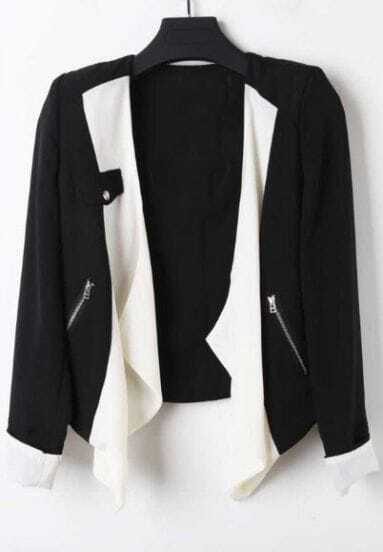 Black Long Sleeve Zipper Pocket Contrast Draped Front Blazer