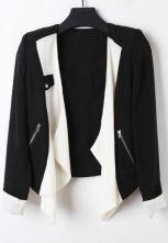 Black Long Sleeve Zipper Pocket Contrast Draped Front Blazer