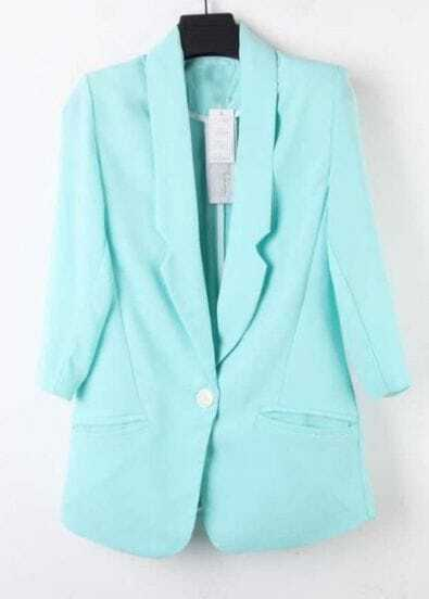 Aqua Lapel Single Button Pockets Fitted Curved Hem Blazer