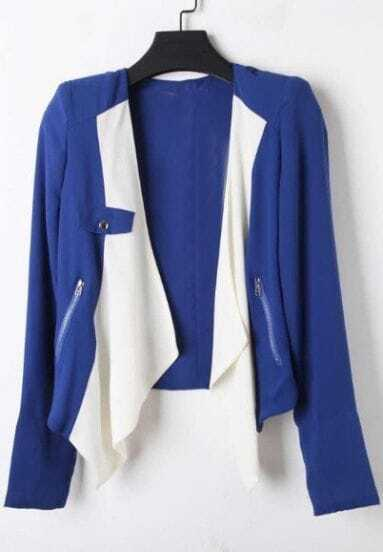 Blue Long Sleeve Zipper Pocket Contrast Draped Front Blazer