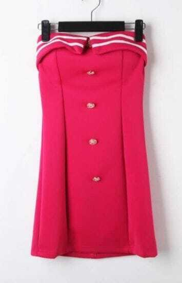 Rose Red Strapless Buttons Embellished Bodycon Mini Dress