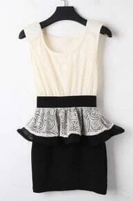 Apricot Black Sleeveless Lace Embroidery Back Peplum Bodycon Dress