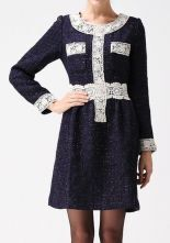 Dark Blue Long Sleeve Lace Trims Zip Back Tweed Bandeau Dress