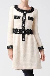 Beige Long Sleeve Lace Trims Zip Back Tweed Bandeau Dress