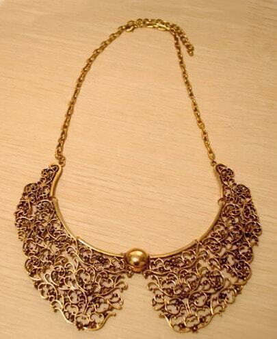 Gold Hollowed Carving Detachable Collar Necklace