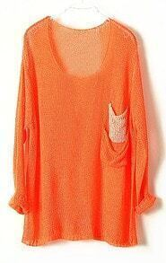 Orange Batwing Sheer Pockets Cotton Blends Sweater