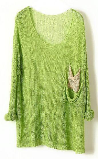 Green Batwing Sheer Pockets Cotton Blends Sweater