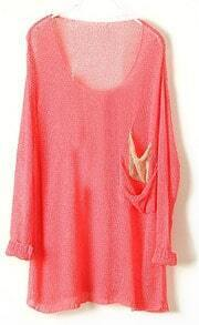 Pink Batwing Sheer Pockets Cotton Blends Sweater