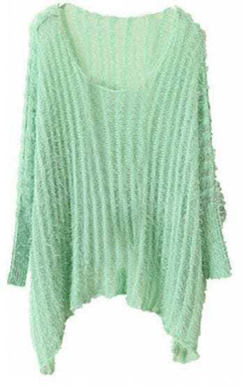 Green Vintage Round Neck Batwing Loose Sweater