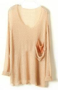 Khaki Batwing Sheer Pockets Cotton Blends Sweater
