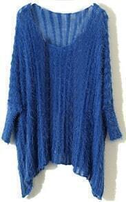Blue Vintage Round Neck Batwing Loose Sweater