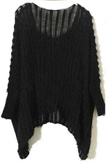 Black Vintage Round Neck Batwing Loose Sweater