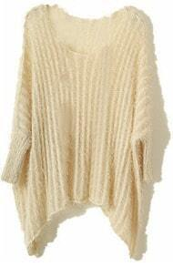Apricot Vintage Round Neck Batwing Loose Sweater