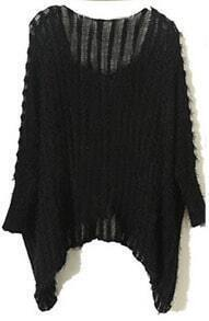Black Vintage Round Neck Batwing Loose Sweater
