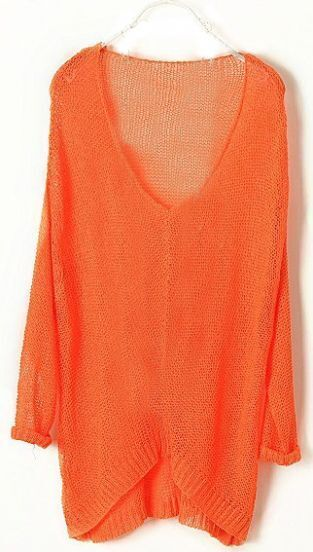 Orange Vintage Asymmetrical Sheer Loose Sweater