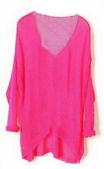 Rose Red Vintage Asymmetrical Sheer Loose Sweater