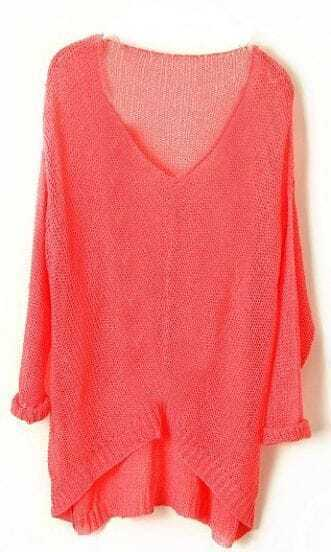 Pink Vintage Asymmetrical Sheer Loose Sweater