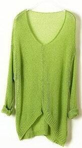 Green Vintage Asymmetrical Sheer Loose Sweater