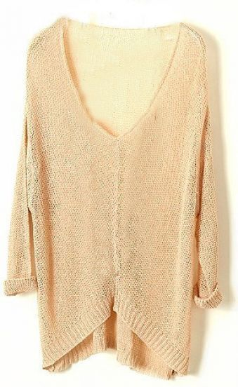 Apricot Vintage Asymmetrical Sheer Loose Sweater