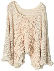 Apricot Asymmetrical Ruffles Chiffon Loose Sweater