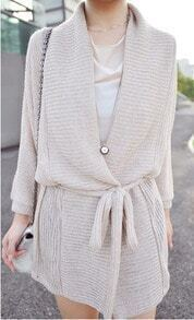 Beige Long Sleeve Drawstring Waist Sweater