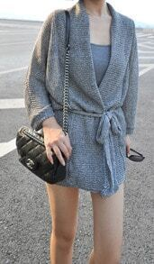 Grey Long Sleeve Drawstring Waist Sweater