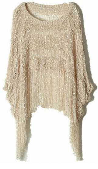 Apricot Round Neck Batwing Tassel Loose Sweater