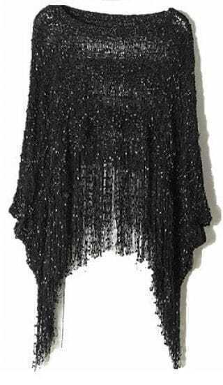 Black Round Neck Batwing Tassel Loose Sweater