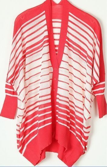 Pink White Striped Single Breasted Batwing Sweater