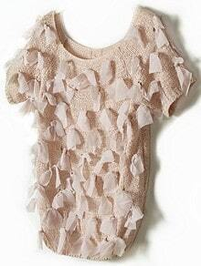 Apricot Vintage Ripped Bow Chiffon Sweater