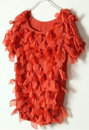 Red Vintage Ripped Bow Chiffon Sweater