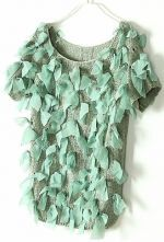 Green Vintage Ripped Bow Chiffon Sweater