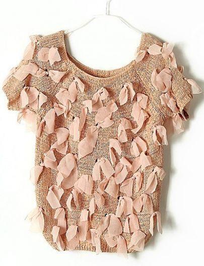 Pink Vintage Ripped Bow Chiffon Sweater