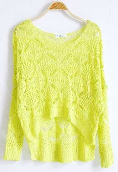 Green Hollow Batwing Loose Embroidery Sweater