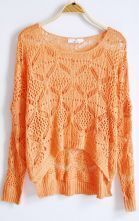 Orange Hollow Batwing Loose Embroidery Sweater