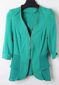 Green V Neck Zipper Fitted Cotton Suit