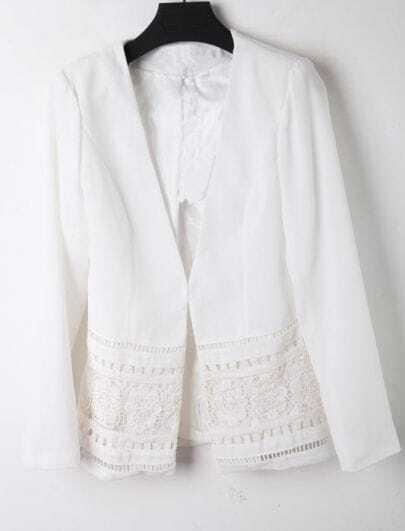 White V Neck Lace Embroidery Single Button Cotton Suit