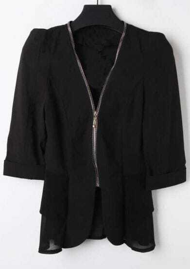 Black V Neck Zipper Fitted Cotton Suit