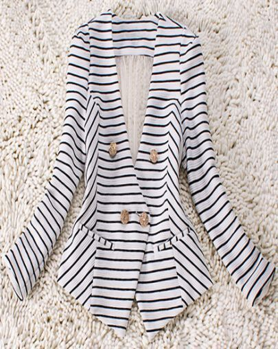 Black White Striped Pleated Fitted Suit