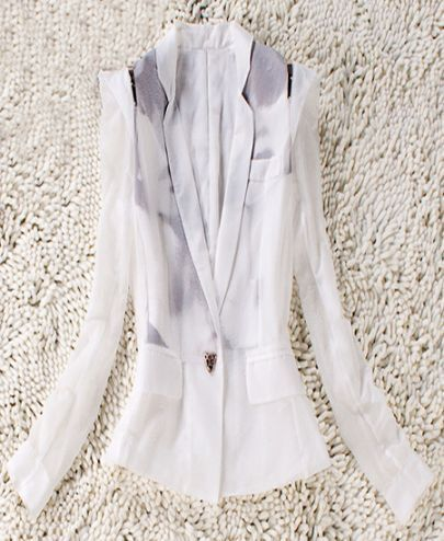 White Notch Lapel Single Button Silk Suit