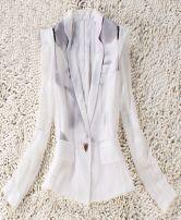 White Notch Lapel Single Button Silk Suit