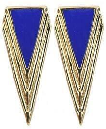 Blue Triangle Gold Stud Earrings