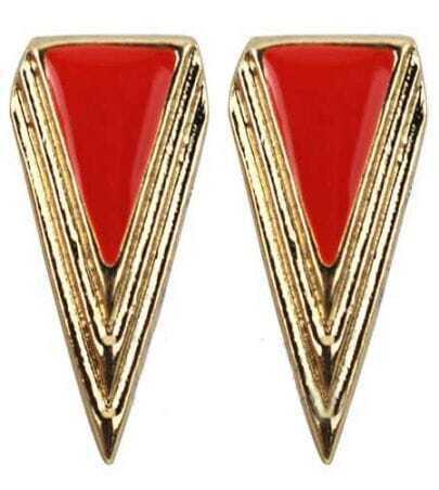Orange Triangle Gold Stud Earrings