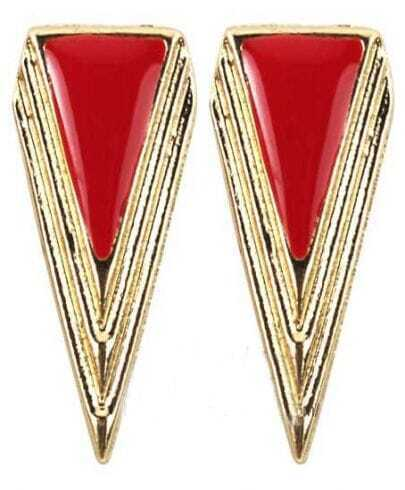 Red Triangle Gold Stud Earrings