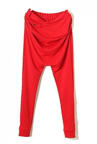 Red Elasic Waist Buttons Loose Pant