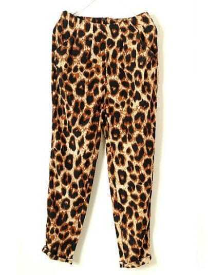 Leopard High Waist Loose Silk Pant