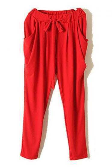 Red Vintage High Drawstring Waist Loose Pant