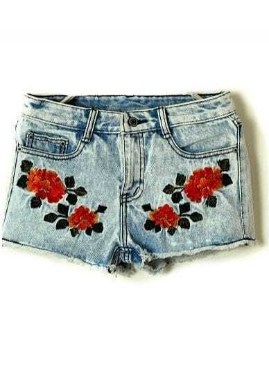 Blue Vintage Embroidery Drawstring Waist Denim Shorts